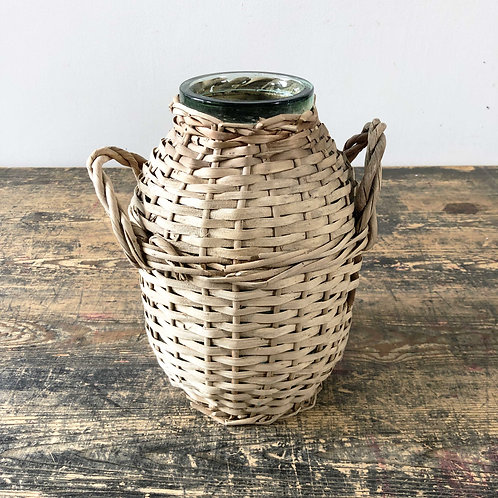 Vintage Handwrapped Glass and Wicker Demi John - Mid 20th Century