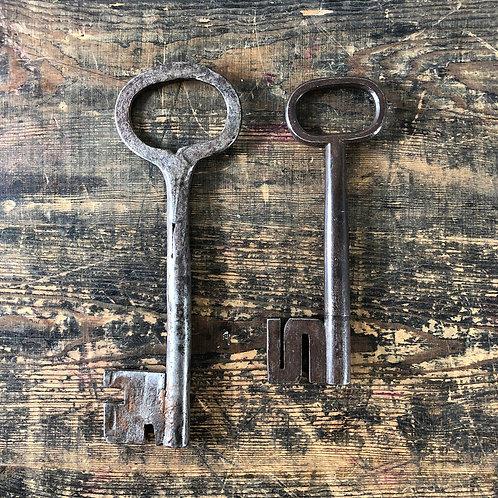 A pair of 17th Century Swedish wrought iron hollow shaft keys