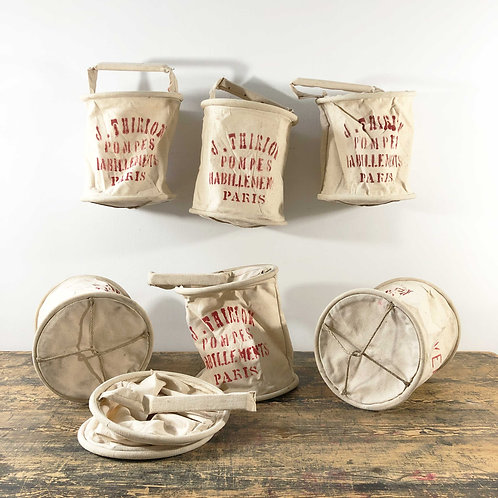 Vintage French Canvas Water Buckets