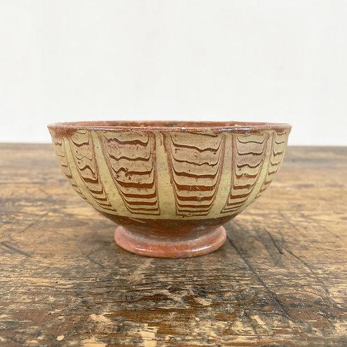 Antique Primitive Pottery Bowl Central European C1890-1920