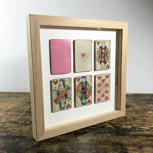 """1853's antique """"Royal Flush"""" playing card collage art."""