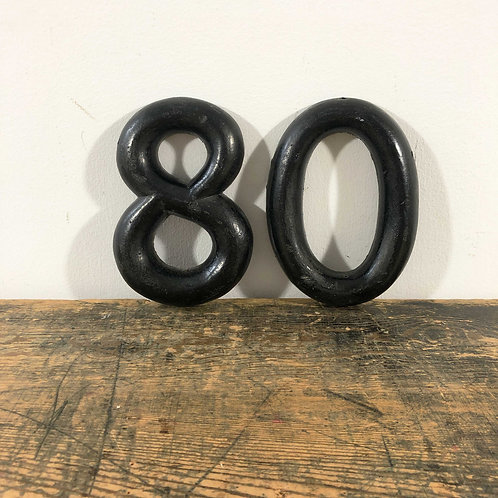 Antique Wooden Number 80 Black Paint over Gilt England Early 20th Century