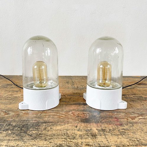 Pair of Vintage Upright Ceramic and Glass Lights European. C1950-60
