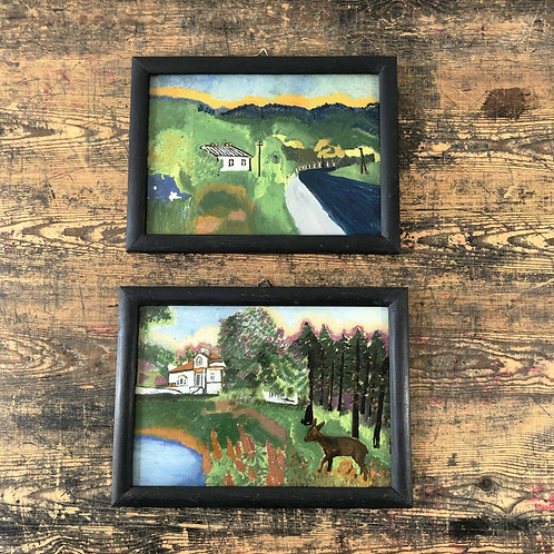 Naïve Folk Art Reverse Glass Landscape Paintings Northern Europe C1950