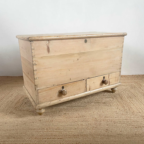 Antique Pine Mule Chest England 19th Century