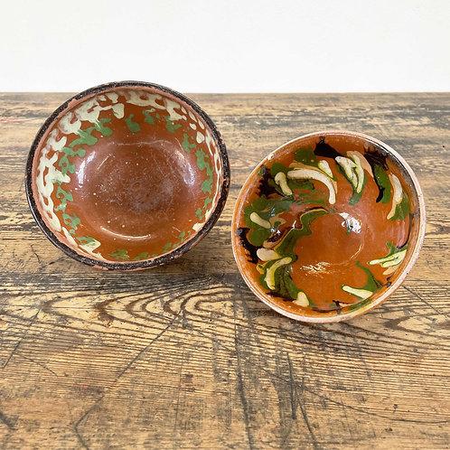 A pairing of Antique Primitive Pottery Bowls Central European C1890-1920