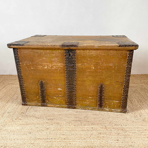 Antique Wooden Marriage Box with Decorative Metal Work