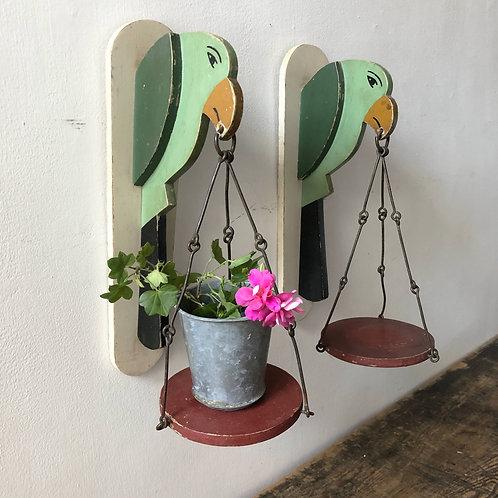 Vintage Folk Art Wooden Parrot Plant Holders  C1940-1960