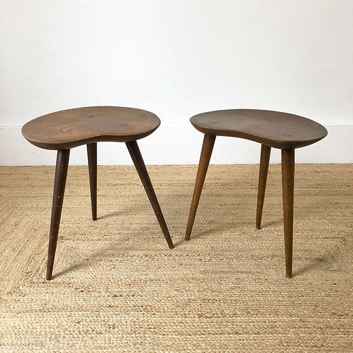 A Pair of Hand Carved Elm Stools C1950