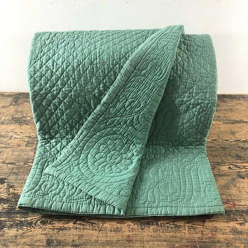 Antique Green Durham Quilt Northern England C1920