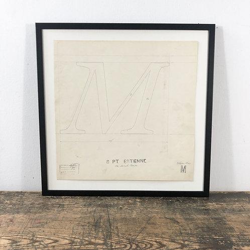 Original Master Drawings of Letters K,M,N,O