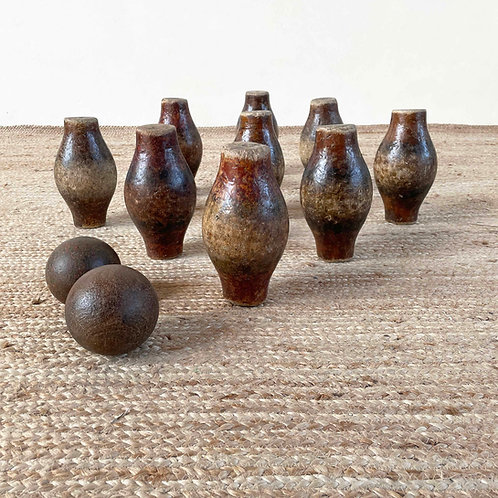 Antique Set of Wooden Skittles England 19th Century