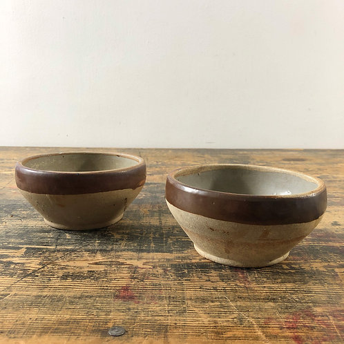 Set of 2 Vintage French Stoneware Bowls