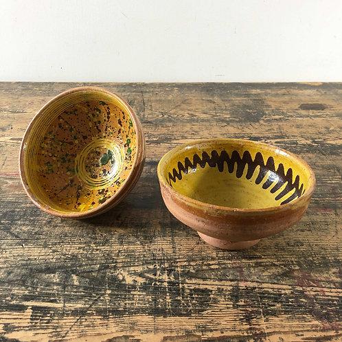 A Pairing of Antique Primitive Bowls Central European C1920