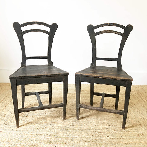 A Pair of  Faded Black Antique Chairs with Original Paint Central Europe