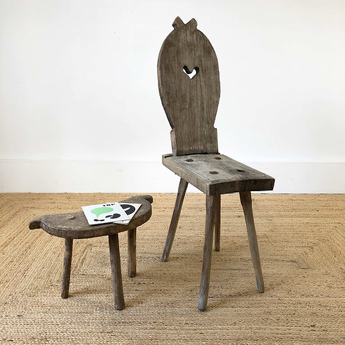 Antique Primitive Folk Art Chair, Sweden C18th