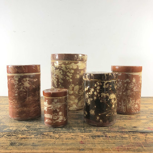 Collection of Antique Marbled Slipware Jars. C1840. Also Individually priced