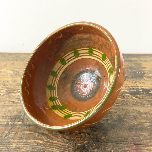 Primitive rustic hand painted pottery bowl C1890
