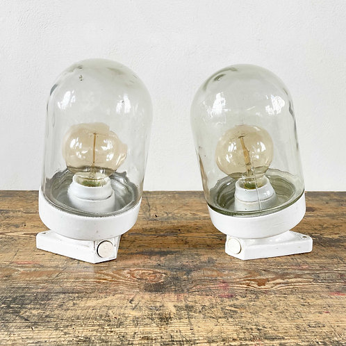 Pair of Vintage Ceramic and Glass Lights European C1950–60