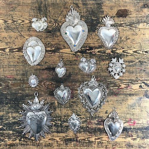 An antique silver Italian Ex voto Heart