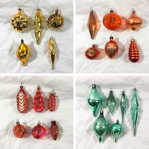 Sets of 1950's Russian Christmas decorations.