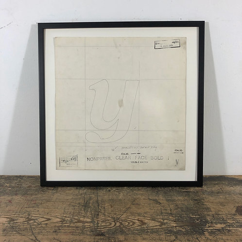 Original Master Drawings of Letters Y to Z and Punctuation Marks