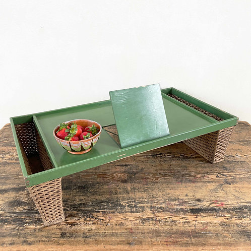 Green Painted Wood and Wicker Breakfast Tray C1950-70