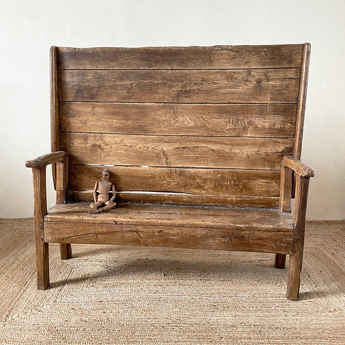 Antique Elm Metamorphic Monk's Bench Great Britain Early 18th Century