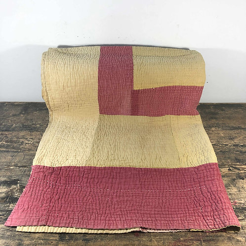 Rhubard and custard primitive Welsh quilt