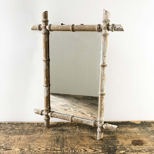 Vintage French Wooden 'Bamboo' Mirror C1960-70