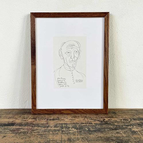 """' Portrait of a Pastor"""" Siep Van den Berg (1913-1988) Original Ink Drawing"""
