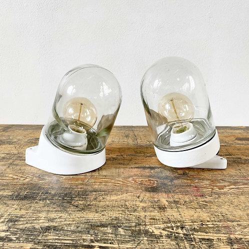 Vintage Slanted Ceramic and Glass Lights European C1950-60