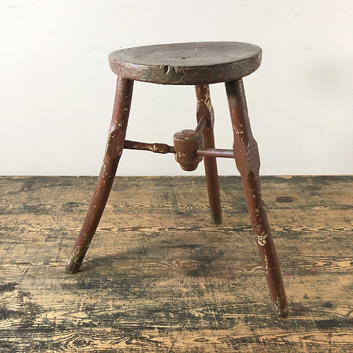 Antique Oak Three Legged Stool with Painted Surface C19th Century