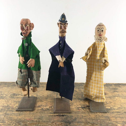 A charming set of 3 antique Punch and Judy puppets circa 1900.