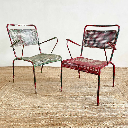 Pair of Vintage French Perforated Metal Garden Chairs C1950-60