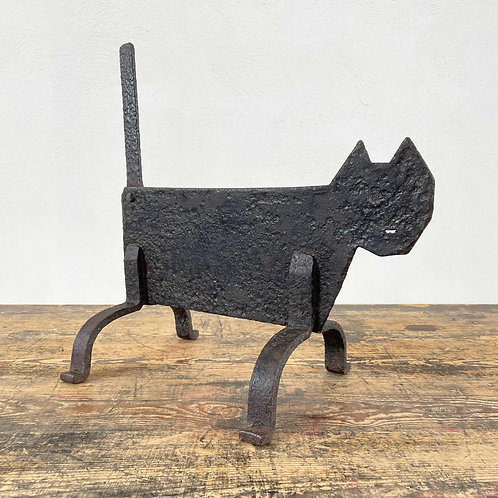 Arts and Crafts Wrought Iron Black Cat Bootscraper England C1890