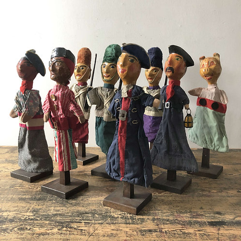 Collection of Vintage Papier Mache Hand Puppets England C1930 – 50
