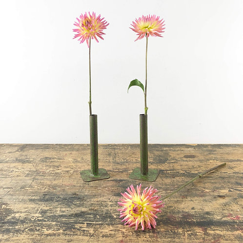 A Pair of Vintage Metal Flower Specimen Vases C1910