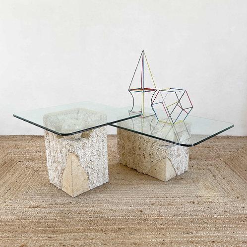 Brutalist Cast Plaster and Glass Side Tables C1970.