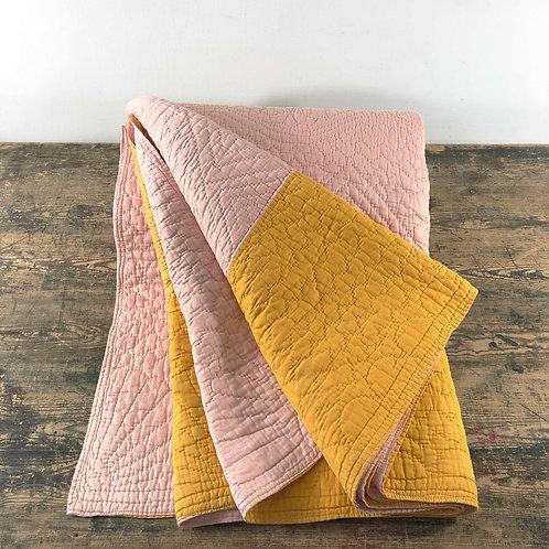 Antique Pink and Orange Blocked Pattern Durham Quilt England C1920-30