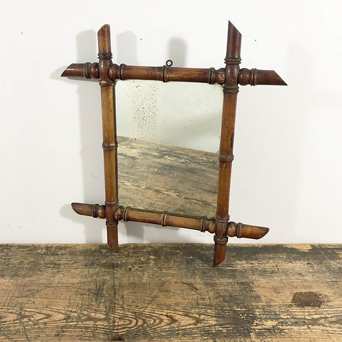 Vintage French Wood 'Bamboo' Mirror C1930/40