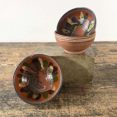 A Trio of blue Antique primitive Bowls Central European C192