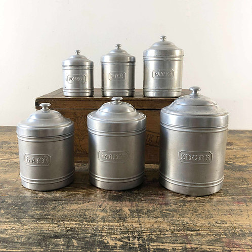 A set of 6 Vintage French Aluminium Kitchen Canisters C1950