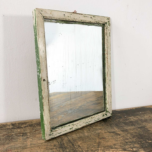 A Green and White Painted Wooden Crofter's Mirror C1930