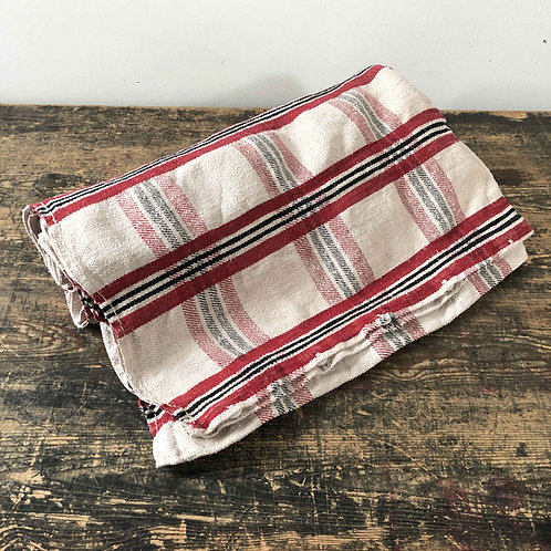 Antique red, white and black check linen hemp mattress cover.