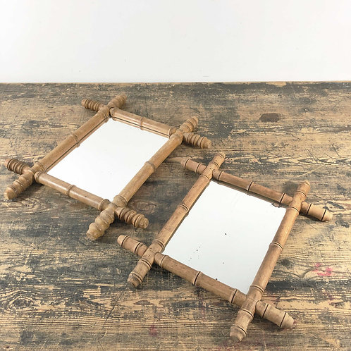 Vintage French Wood 'Bamboo' Mirror France C1930/40