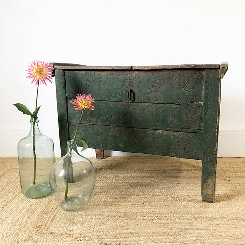 Antique primitive carved wooden coffer