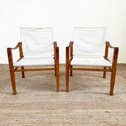 Pair of Vintage Safari Chairs Scandinavian C1970.