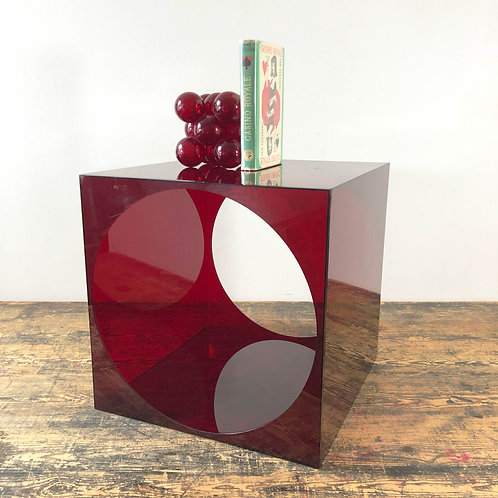 Vintage Red Perspex Cube Side Table with Circular Cut Out C1960