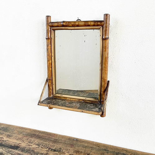 Antique Bamboo Mirror with Shelf France 19th Century.